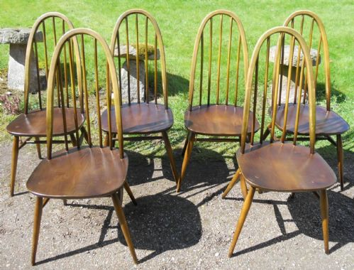Set of Six Ercol Elm Stickback Dining Chairs